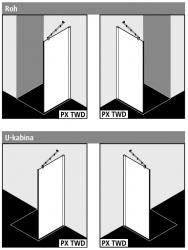 Kermi Boční stěna Pasa XP TWD 10018 970-1000/1850 stříbrná vys.lesk ESG čiré boční stěna  (PXTWD10018VAK), fotografie 2/3