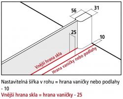 Kermi Boční stěna Pasa XP TWD 10018 970-1000/1850 stříbrná vys.lesk ESG čiré boční stěna  (PXTWD10018VAK), fotografie 4/3