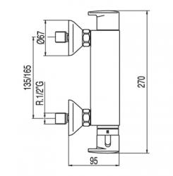 TRES - Termostatická sprchová baterie BASIC (Ruční sprcha (1.34.821) snastavitelným držákem, pro (1901629), fotografie 2/5