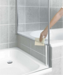 Kermi Boční stěna Pasa XP TVD 09016 870-900/1600 stříbrná matná ESG čiré boční stěna zkrácená vedle vany  (PXTVD090161AK)