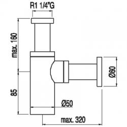 TRES - Výsuvný umyvadlový viditelný sifon (16110372), fotografie 2/1