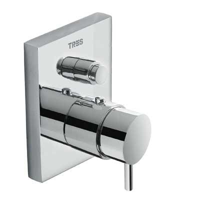 TRES TRESMOSTATIC Termostatická baterie pro vanu-sprchu podomítková s uzávěrem a regulací průtoku · Včetně podomítkového tělesa (190652 )