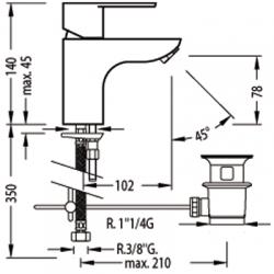 TRES - Jednopáková umyvadlová baterie s ekologickou funkcí (117104), fotografie 2/5