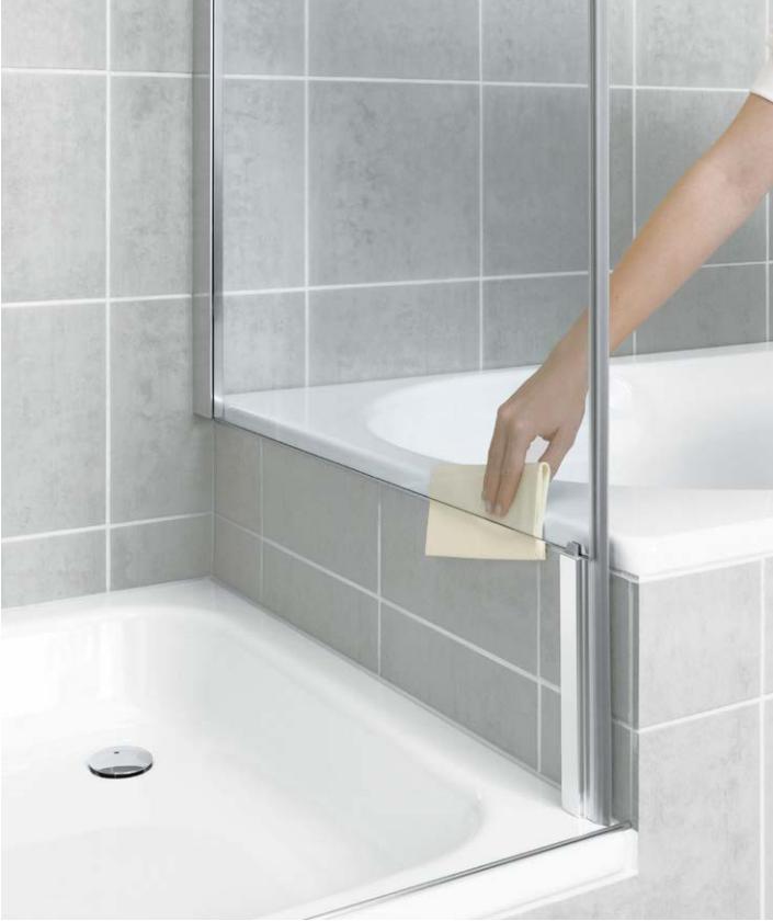 Kermi Boční stěna Pasa XP TVD 09016 870-900/1600 stříbrná vys.lesk ESG čiré Clean boční stěna zkrácená vedle vany  (PXTVD09016VPK)