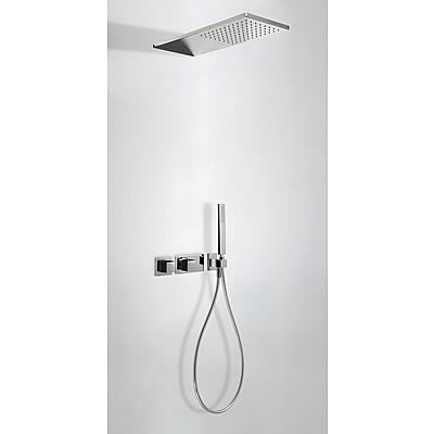 TRES CUADRO EXCLUSIVE Termostatický podomítkový sprchový set s uzávěrem a regulací průtoku (2-cestná). · Včetně podomítkového termostatického tělesa · Sprchové kropítko z nerez. oceli 210x550 mm. · Ruční sprcha, proti usaz. vod. kamene. · Flexi hadice SAT