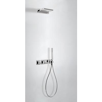 Fotografie TRES - Termostatický podomítkový sprchový set BLOCKSYSTEM s uzávěrem a regulací průtoku (2-cestná). · Včetně podomítkového termostatického tělesa. · Ramínko s kaskádou z nerez. oceli (299.903.04). · Ruční sprcha, proti usaz. vod. kamene (202.639.01)