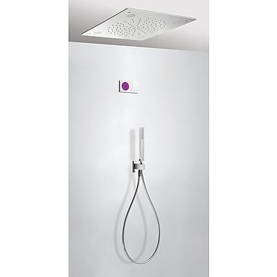TRES SHOWER TECHNOLOGY Termostatický podomítkový elektronický sprchový set · Stropní sprchové kropítko z nerez. oceli 500x500 mm. (299.962.01). · Držák s nástěnným přívodem vody . · Ruční sprcha, proti usaz. vod. kamene (202.639.01). · Flexi hadice SATIN
