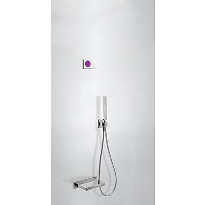 TRES SHOWER TECHNOLOGY Termostatický podomítkový elektronický vanový set · Vanoví ramínko s kaskádou z nerez. oceli. · Držák s nástěnným přívodem vody. · Ruční sprcha, proti usaz. vod. kamene (202.639.01). · Flexi hadice SATIN (91.34.609.15). (09286553 )