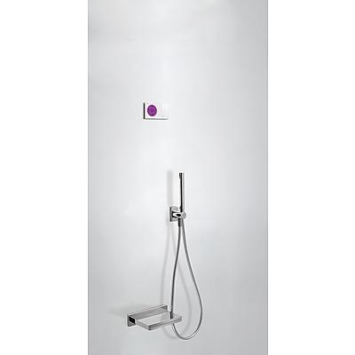TRES SHOWER TECHNOLOGY Termostatický podomítkový elektronický vanový set · Vanové ramínko s kaskádou z nerez. oceli. · Držák s nástěnným přívodem vody. · Ruční sprcha, proti usaz. vod. kamene (034.116.01). · Flexi hadice SATIN (91.34.609). (09286556 )