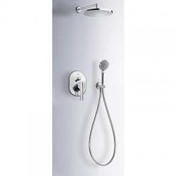 TRES - Podomítkový jednopákový sprchový set LEXs uzávěrem a regulací průtoku. Včetně podomítkového tělesa Pevná sprcha O2 (18188005)