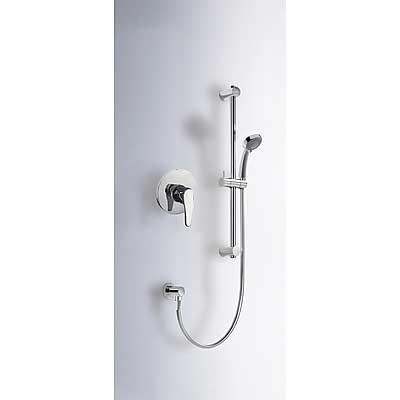 TRES ECO-TRES Sprchová sada vestavná · Posuvná tyč o délce 516 mm. · Kolínko nástěnným přívodem. · Ruční masážní sprcha O 80 mm. (2 funkce). · Flexi hadice SATIN. (17097002 )