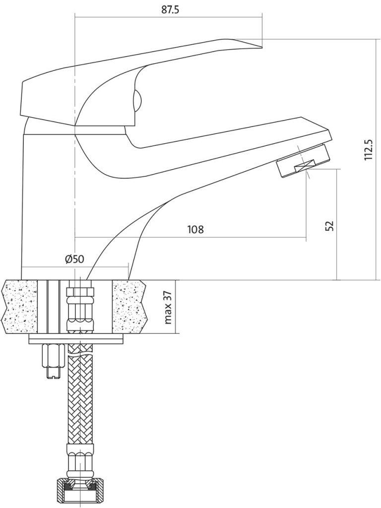 CERSANIT - Umyvadlová baterie AMET jednopáková, jednootvorová, stojánková, s pevným výtokovým ramínkem, CHROM, s výpustí plastovou (S951-041)