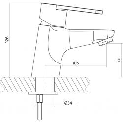 Umyvadlová baterie CARI jednopáková, jednootvorová, stojánková, s pevným výtokovým ramínkem, CHROM, s výpustí plastovou (S951-040) - CERSANIT, fotografie 4/3