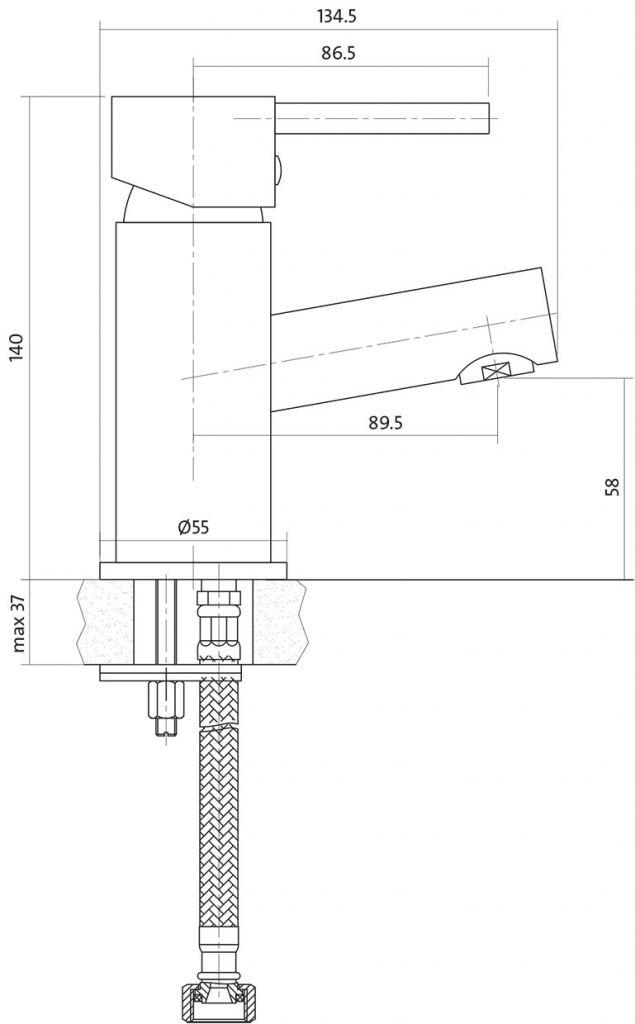CERSANIT - Umyvadlová baterie SIMI jednopáková, jednootvorová, stojánková, s pevným výtokovým ramínkem, CHROM, s výpustí plastovou (S951-039)