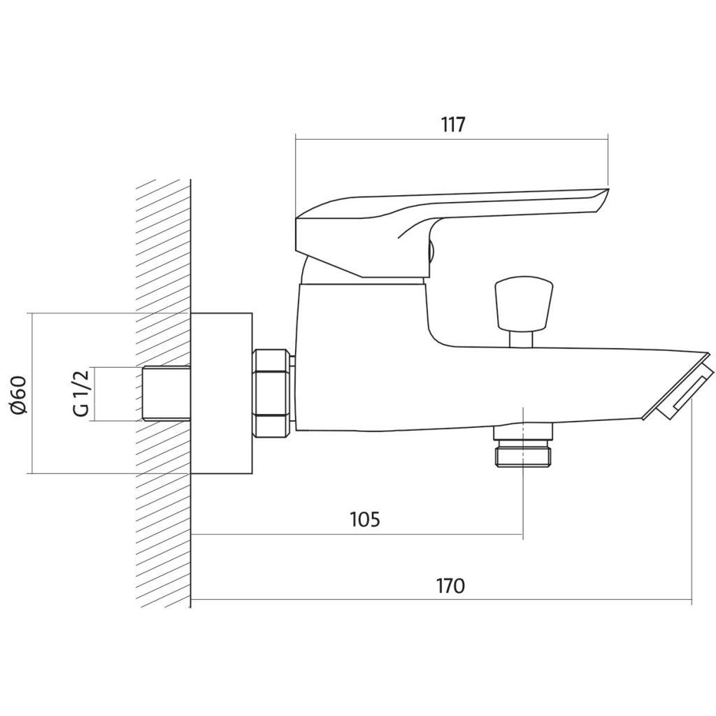 CERSANIT - Vanová baterie AVEDO jednopáková, nástěnná,  s pevným výtokovým ramínkem, s přepínačem, CHROM S951-014
