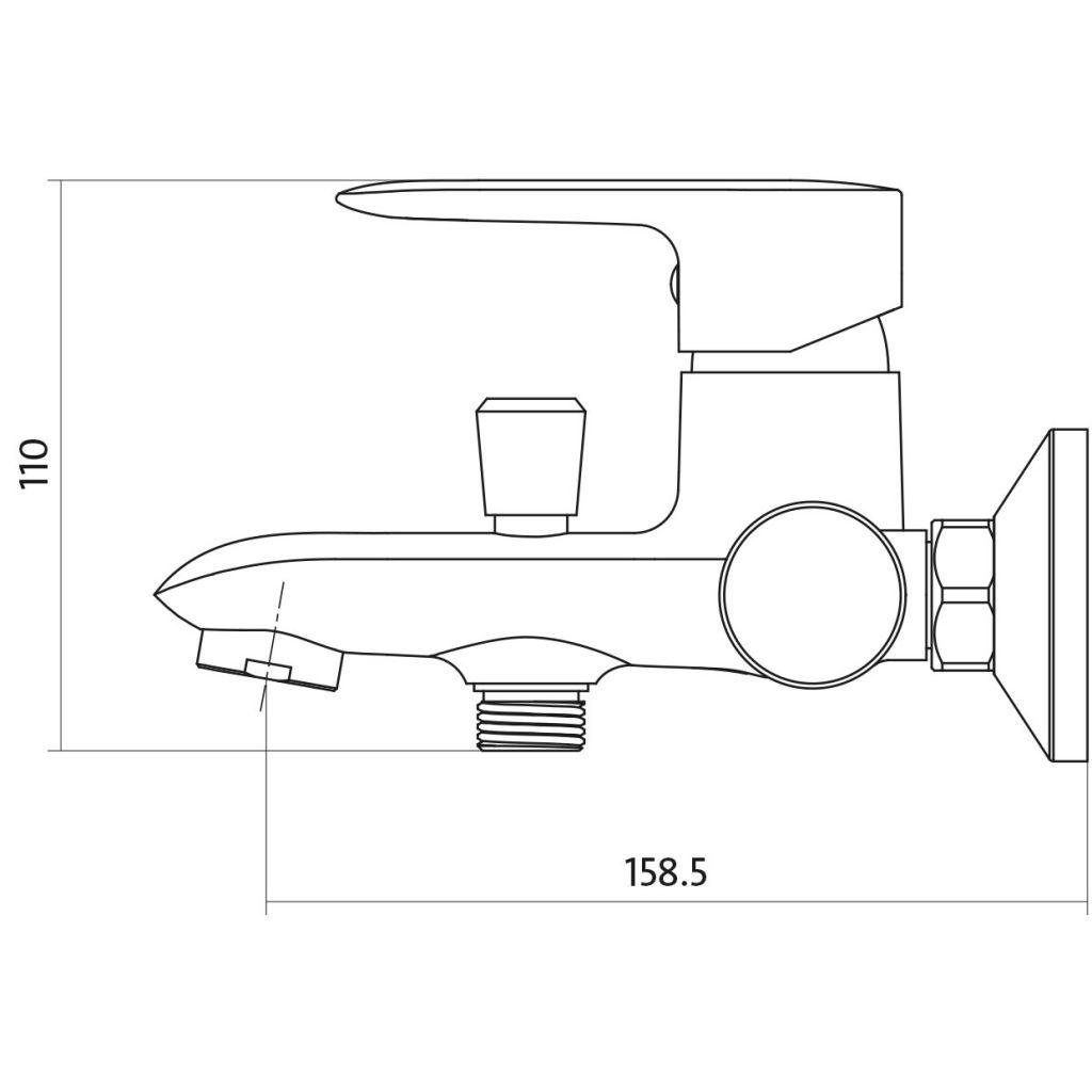 CERSANIT - Vanová baterie LUMI jednopáková, nástěnná,  s pevným výtokovým ramínkem, s přepínačem, CHROM S951-005