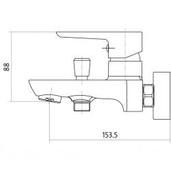 CERSANIT - Vanová baterie se sprchou MILLE jednopáková, dvouotvorová, nástěnná,  s pevným výtokovým ramínkem, s přepínačem, CHROM (S951-006), fotografie 4/2