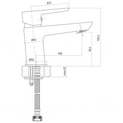 CERSANIT - Umyvadlová baterie MILLE jednopáková, jednootvorová, stojánková, s pevným výtokovým ramínkem, CHROM/BÍLÁ, s výpustí kovovou (S951-047), fotografie 4/3
