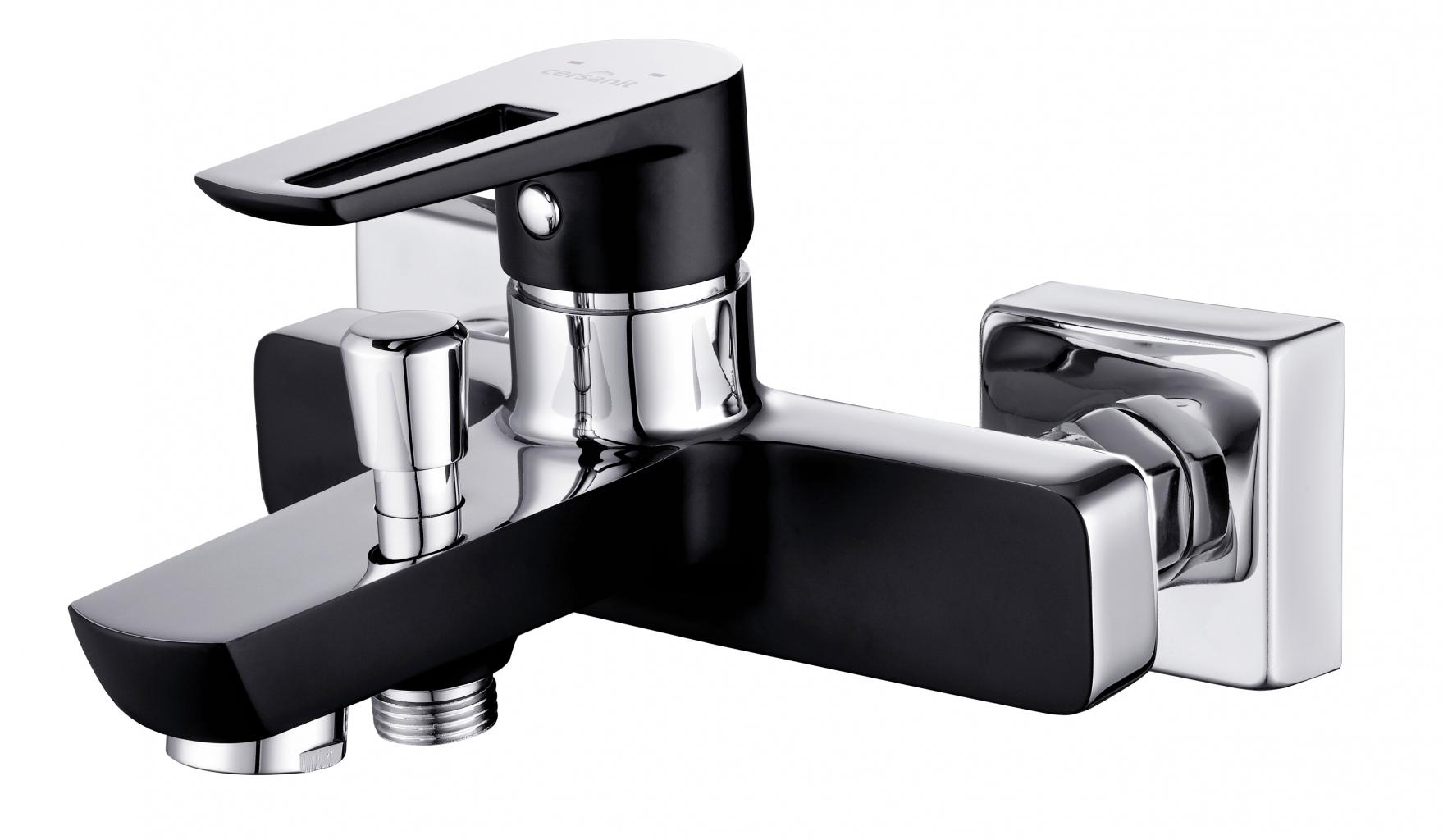 CERSANIT Vanová baterie se sprchou MILLE jednopáková, dvouotvorová, nástěnná, s pevným výtokovým ramínkem, s přepínačem, CHROM/ČERNÁ (S951-009 )