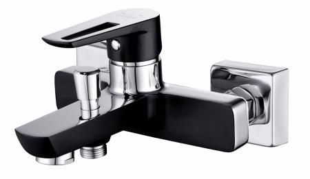 CERSANIT - Vanová baterie se sprchou MILLE jednopáková, dvouotvorová, nástěnná,  s pevným výtokovým ramínkem, s přepínačem, CHROM/ČERNÁ (S951-009)