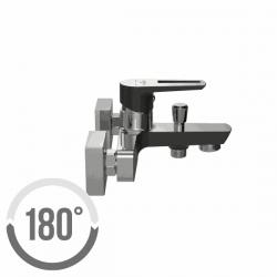 CERSANIT - Vanová baterie se sprchou MILLE jednopáková, dvouotvorová, nástěnná,  s pevným výtokovým ramínkem, s přepínačem, CHROM/ČERNÁ (S951-009), fotografie 2/2