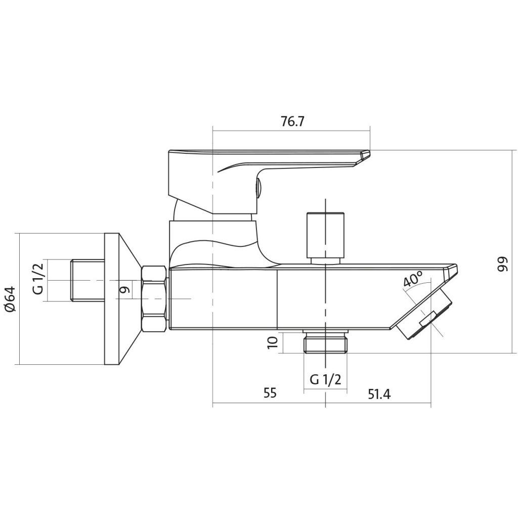 CERSANIT - Vanová baterie se sprchou VERO jednopáková, dvouotvorová, nástěnná, s pevným výtokovým ramínkem, s přepínačem, CHROM (S951-004)