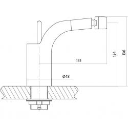 Bidetová baterie LUVIO jednopáková, jednootvorová, stojánková, bez přepínače, CHROM (S951-017) - CERSANIT, fotografie 4/4