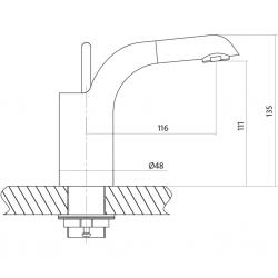 CERSANIT - Umyvadlová baterie LUVIO jednopáková, jednootvorová, stojánková, s pevným výtokovým ramínkem, CHROM, s výpustí kovovou KLIK - KLAK (S951-051), fotografie 4/4