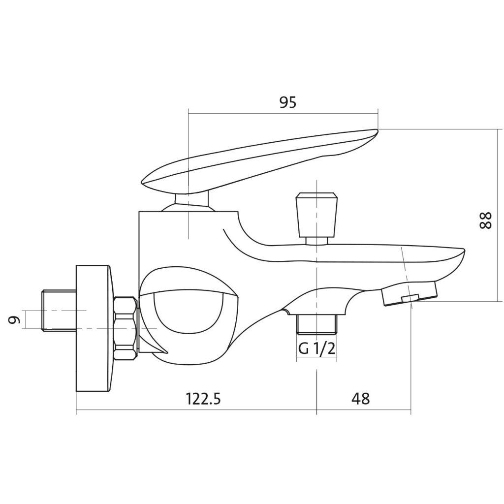 CERSANIT - Vanová baterie MAYO jednopáková, nástěnná,  s pevným výtokovým ramínkem, s přepínačem, CHROM S951-013