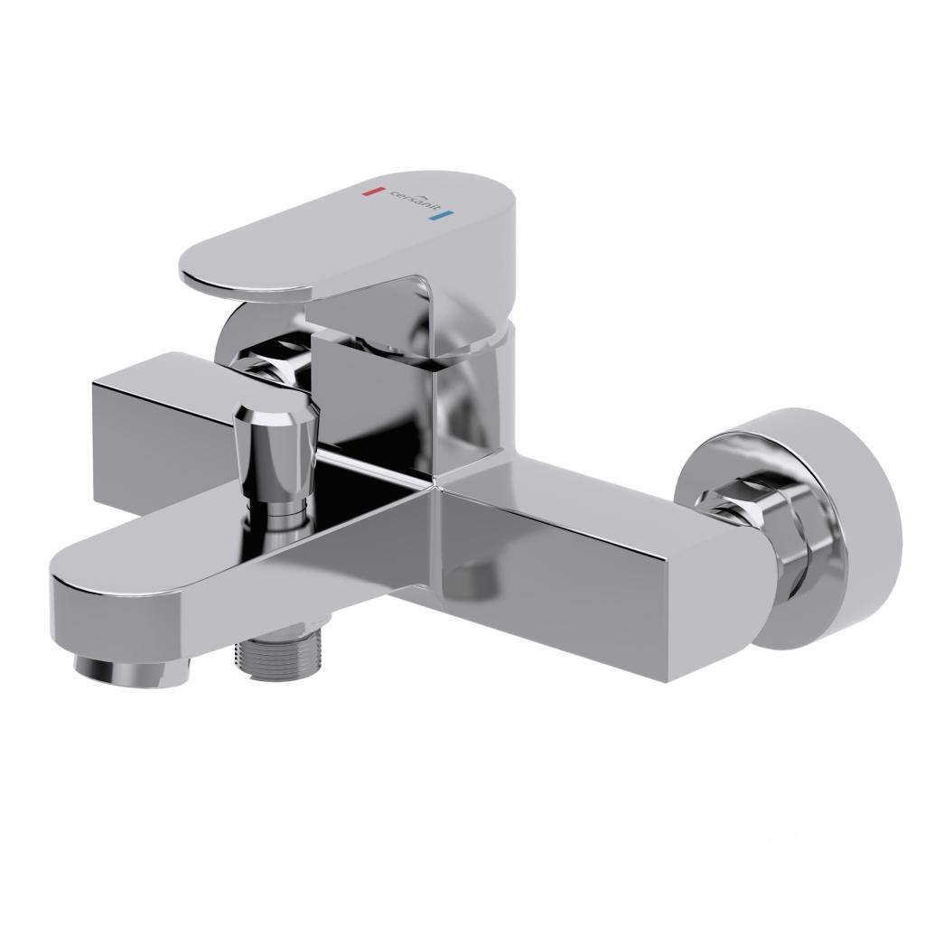 CERSANIT - Vanová baterie se sprchou VIGO jednopáková, dvouotvorová, nástěnná, s pevným výtokovým ramínkem, s přepínačem, CHROM CERSANIT