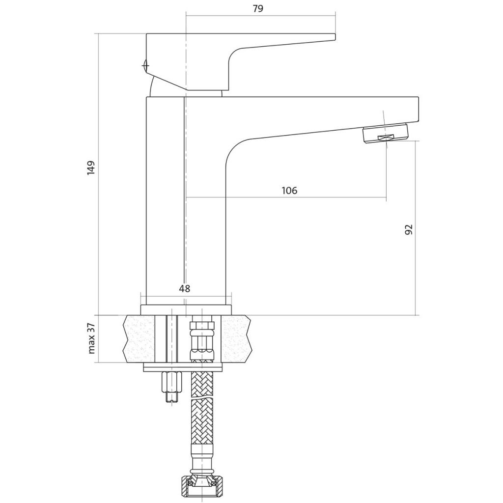 CERSANIT - Umyvadlová baterie VIGO jednopáková, jednootvorová, stojánková, s pevným výtokovým ramínkem, CHROM, s výpustí kovovou