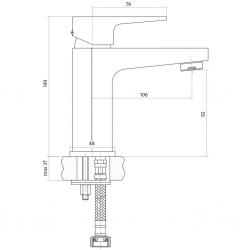 CERSANIT - Umyvadlová baterie VIGO jednopáková, jednootvorová, stojánková, s pevným výtokovým ramínkem, CHROM, s výpustí kovovou KLIK - KLAK (S951-049), fotografie 4/4