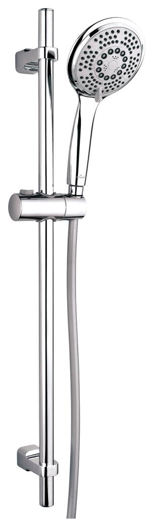 Sprchová souprava s tyčí a posuvným držákem SENTI, 5 funkční, průměr ruční sprchy 12cm, hadice z PVC dlouhá 200cm, kovová tyč 80cm s posuvným držákem a montážní sadou (S951-020)