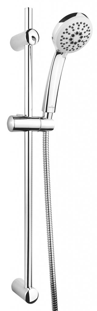 Sprchová souprava s tyčí a posuvným držákem VIBE, 3 funkční, průměr ruční sprchy 8,5cm, kovová hadice dlouhá 150cm, kovová tyč 70cm s posuvným držákem a montážní sadou (S951-021)