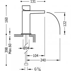 TRES - Jednopáková umyvadlová baterie ramínko s otevřeným vodopádem. POZNÁMKA: Baterie typu vodopádu je doplněna dvěma regulačn (20211002), fotografie 2/4