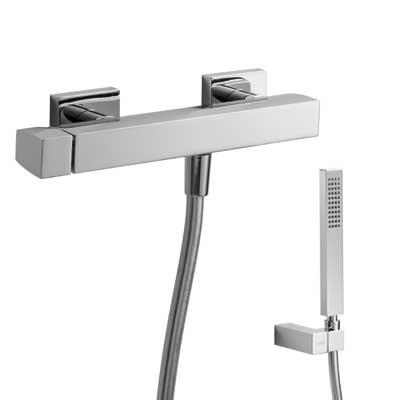 TRES SLIM-TRES: Jednopáková sprchová baterie Ruční sprcha (202.639.01) s nastavitelným držákem, proti usaz. vod. kamene. Flexi hadice SATIN (91.34.609.15) (20216701 )