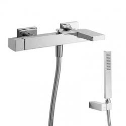 TRES - Jednopáková baterie pro vanu-sprchuRuční sprcha snastavitelným držákem, proti usaz. vod. kamene. Flexi hadice SATIN. (20217001)