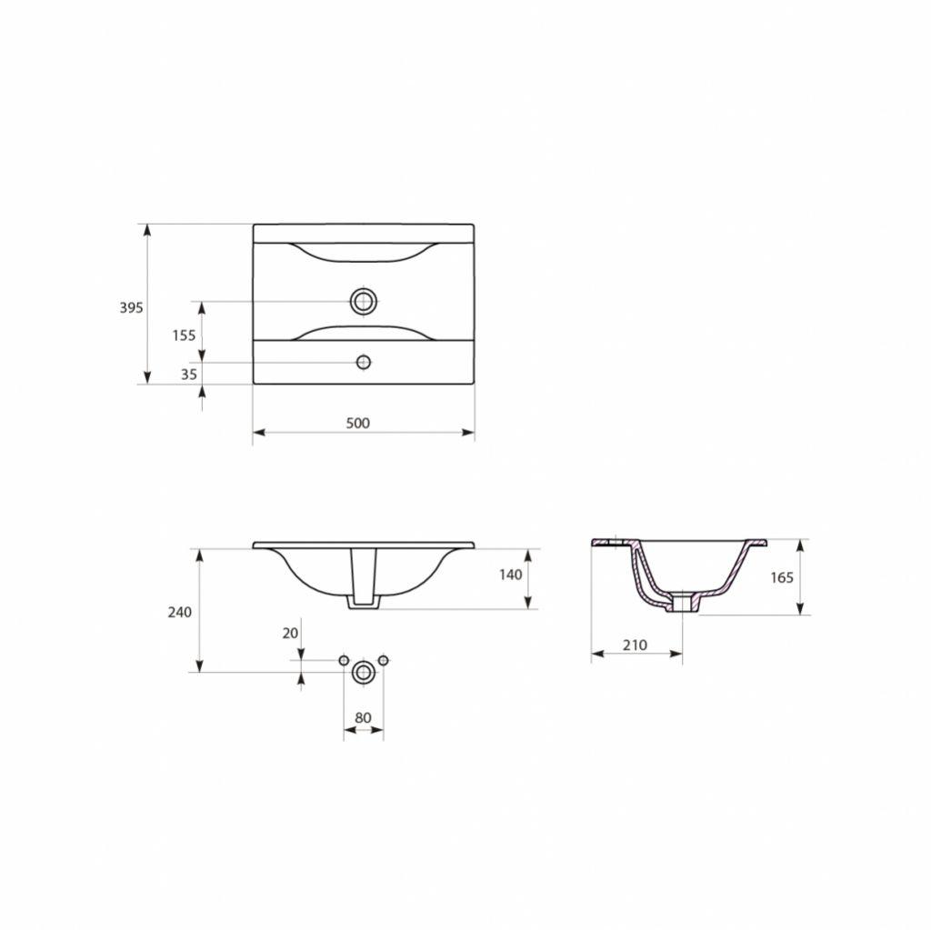 CERSANIT - Nábytkové umyvadlo ONTARIO NEW 50 s přepadem (K669-001)