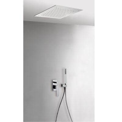 TRES - Podomítkový jednopákový sprchový set s uzávěrem a regulací průtoku.· Včetně podomítkového tělesa· Sprchové kropítko z nerez. oceli 380x380mm. (1.34.944).· Držák snástěnným přívodem vody (006.182.01).· Ruční sprcha, proti usaz. vod. kamene (202.63