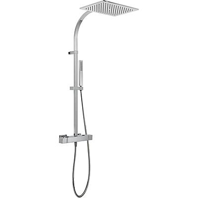 TRES TRESMOSTATIC Souprava termostatické sprchové baterie · Pevná sprcha 320x220 mm. Materiál mosaz (299.632.02). · Ruční sprcha, proti usaz. vod. kamene (202.639.01). · Flexi hadice SATIN (91.34.609.15). · Přepínač zabudovaný v regulaci průtoku (20219501