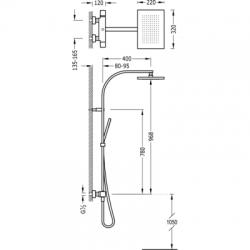 TRES - Souprava termostatické sprchové baterie Pevná sprcha 320x220mm. s kloubem. Materiál mosaz. Ruční sprcha, proti usaz (20219501), fotografie 2/10