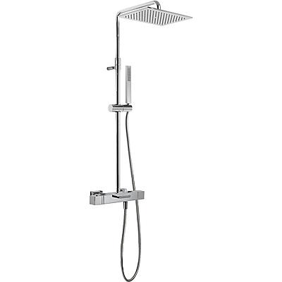 TRES TRESMOSTATIC Souprava termostatické baterie pro vanu-sprchu · Pevná sprcha 320x220 mm. Materiál mosaz (299.632.02). · Ruční sprcha, proti usaz. vod. kamene (202.639.01). · Flexi hadice SATIN (91.34.609). · Teleskopická tyč. (20231201 )