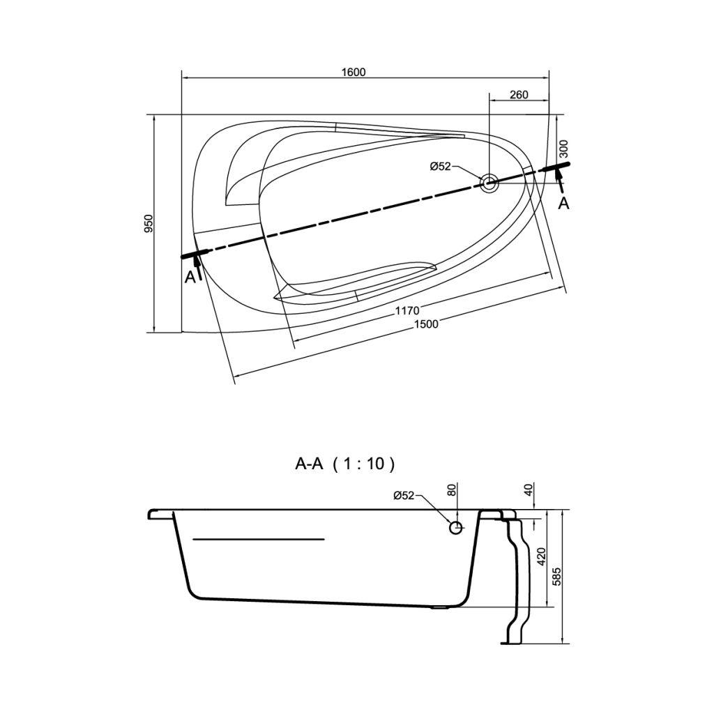 CERSANIT - VANA JOANNA NEW LEVÁ 160X95 cm (S301-170)