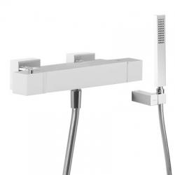 TRES - Termostatická sprchová baterieRuční sprcha snastavitelným držákem, proti usaz. vod. kamene. Flexi hadice SATIN. (4071649)