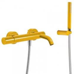 TRES - Vanová baterieRuční sprcha snastavitelným držákem, proti usaz. vod. kamene. Flexi hadice SATIN. (26117001TAM)