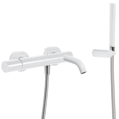 Vanová baterieRuční sprcha s nastavitelným držákem, proti usaz. vod. kamene. Flexi hadice SATIN. (26117001TBL)