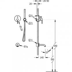 TRES - Podomítkový jednopákový sprchový set s uzávěrem a regulací průtoku. · Včetně podomítkového (26218003TRO), fotografie 2/5