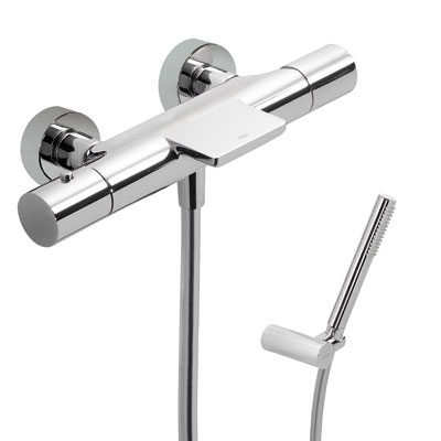 Termostatická baterie pro vanu-sprchus kaskádou. Ruční sprcha s nastavitelným držákem, proti usaz. vod. kamene a flexi (26117209)