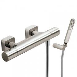 TRES - Termostatická sprchová baterieRuční sprcha snastavitelným držákem, proti usaz. vod. kamene a flexi hadice SATIN. (20016409AC)