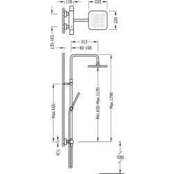 TRES - Souprava termostatické sprchové baterie Pevná sprcha 220x220mm. s kloubem. Ruční sprcha, proti usaz. vod. kamene. (20019501RO), fotografie 2/7